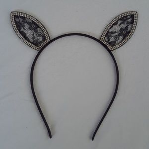 Lace and Rhinestones Bunny Headband